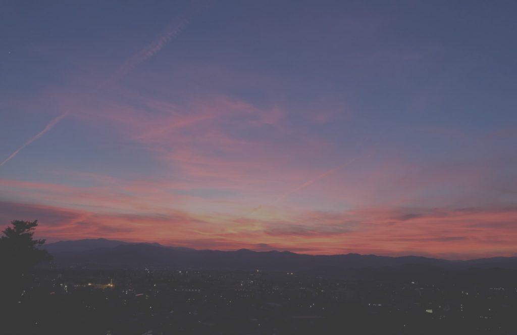 夕日,7月の空